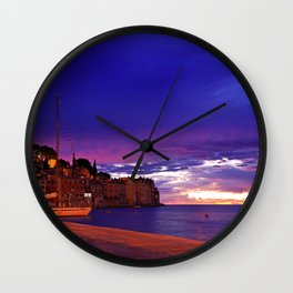 Rovinj by night Wall Clock