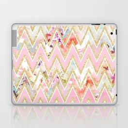 Pastel watercolor floral pink gold chevron pattern Laptop & iPad Skin