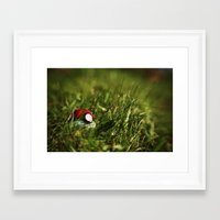 pokeball Framed Art Prints featuring pokeball by saylah