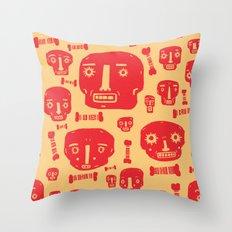 Skulls & Bones - Red/Yellow Throw Pillow