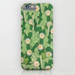 Cacti Camouflage, Floral Pattern  Green White iPhone Case