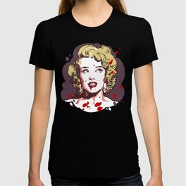 Blonde in red drops T-shirt