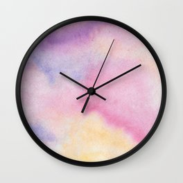 Abstract artistic hand painted pink lavender watercolor Wall Clock