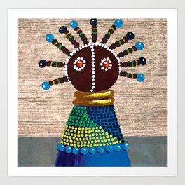 African kenyan doll in blue dress Art Print