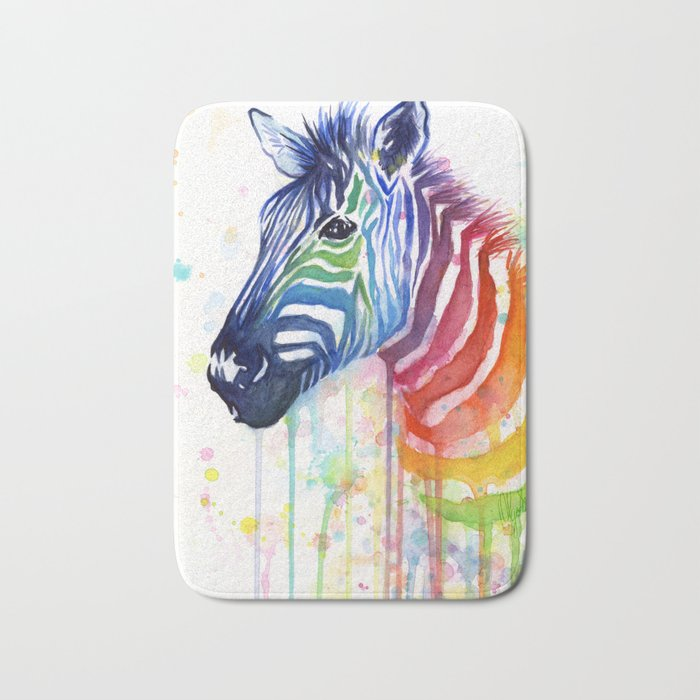 Zebra Watercolor Rainbow Animal Painting Ode to Fruit Stripes Bath Mat