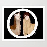 danisnotonfire Art Prints featuring Danisnotonfire Llama by Khrow