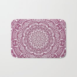 Wine Maroon Ethnic Detailed Textured Mandala Bath Mat