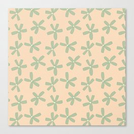 Green & Pink Floral Canvas Print