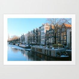 Amsterdam|frozen canals| the Netherlands| Boats | Amsterdam houses| wintertime| artprint| photoprint Art Print