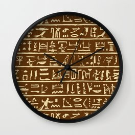 Egyptian Hieroglyphics // Brown & Tan Wall Clock