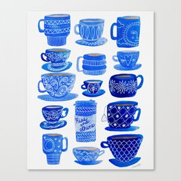 Coffee Mugs and Teacups - A study in blues Canvas Print