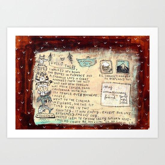 Postcard from Oregon - back Art Print