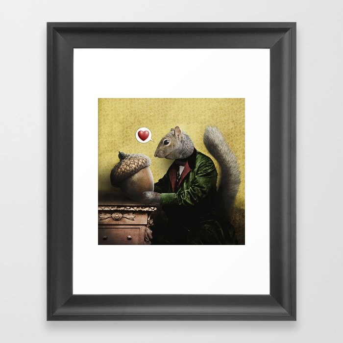 Mr. Squirrel Loves His Acorn! Gerahmter Kunstdruck