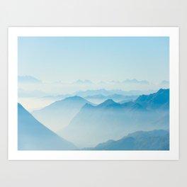 Mystical Paradise Heaven Blue Mountains Parallax Watercolor Pastel Blue Landscape Art Print