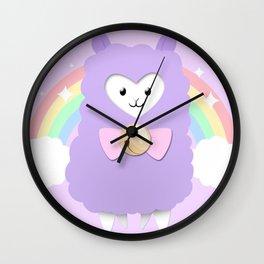 Sparkly Alpaca Rainbow Wall Clock