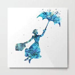 The Magical Nanny - Splashes of Blues Metal Print