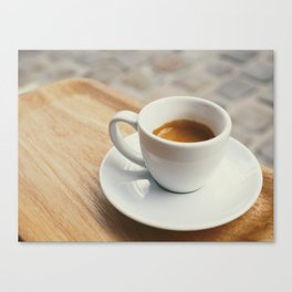 Espresso coffee white cup roasted aroma on a wodden tray Canvas Print