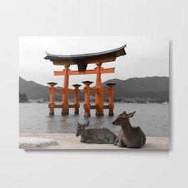 Deer on Miyajima Island Metal Print
