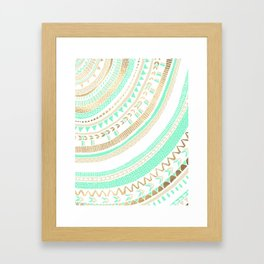 Mint + Gold Tribal Framed Art Print