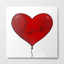 Red love balloon Metal Print