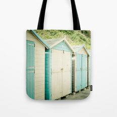 Duck Egg Blue and Cream Beach Huts Tote Bag