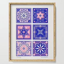Talavera Mexican Tile – Pink & Periwinkle Palette Serving Tray