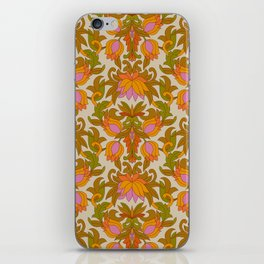 Orange, Pink Flowers and Green Leaves 1960s Retro Vintage Pattern iPhone Skin