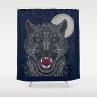 panther Shower Curtains featuring Black Panther by ArtLovePassion