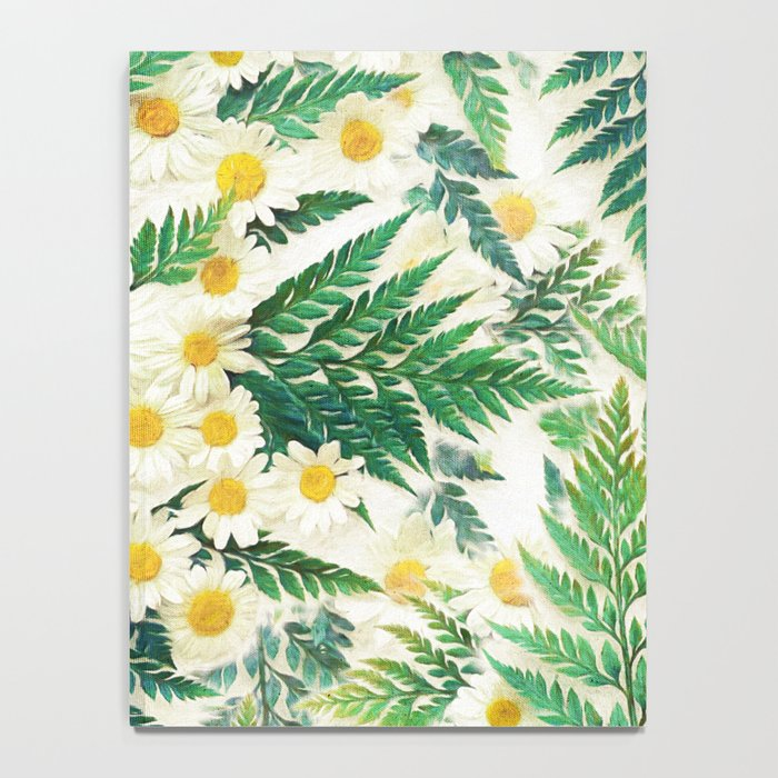 Textured Vintage Daisy and Fern Pattern  Notebook