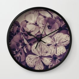 Geraniums -- Monochrome Floral in Aubergine Wall Clock
