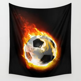 Soccer Fire Ball Wall Tapestry