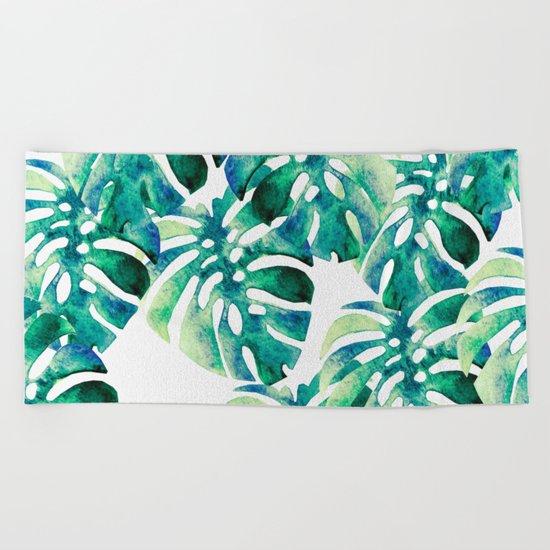 Monstera Pattern Green Beach Towel