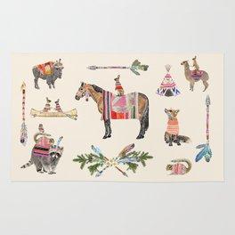 Family with horse, fox, rabbit, owl Rug