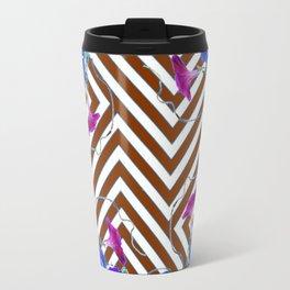 Coffee Brown Blue Morning Glories Abstract Pattern garden  Art Travel Mug