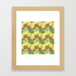 Garden Charm 8:  butterflies and blooms in fresh boho colors Framed Art Print