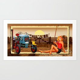 Pin Up Girl with tractor on the farm Art Print
