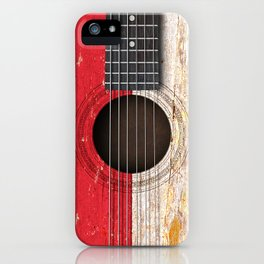 Old Vintage Acoustic Guitar with Indonesian Flag iPhone Case