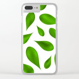 Green summer leafs Clear iPhone Case