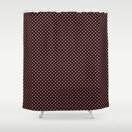 Black and Dusty Cedar Polka Dots Shower Curtain