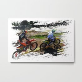 On His Tail - Motocross Sports Art Metal Print