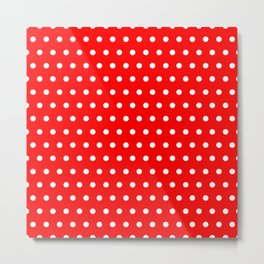 Small dots on red Metal Print
