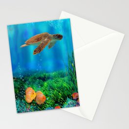 UnderSea with Turtle Stationery Cards