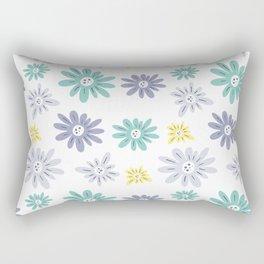 teal, blue, yellow and grey flowers Rectangular Pillow