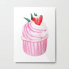 Strawberry Cupcake Metal Print