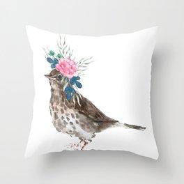 Boho Chic wild bird With Flower Crown Throw Pillow