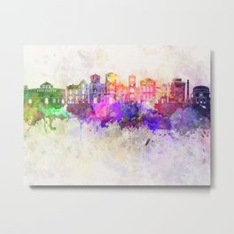 Thessaloniki skyline in watercolor background Metal Print