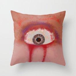 Red eye of selfish Throw Pillow