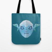 majoras mask Tote Bags featuring Majoras Mask Zora by lowpolyfish