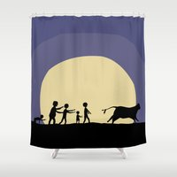 zombies Shower Curtains featuring Hungry zombies by Pierre Simonnet