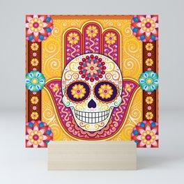 Sugar Skull Hamsa - Day of the Dead Hamsa Art by Thaneeya McArdle Mini Art Print